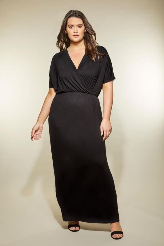 Black Wrap Jersey Maxi Dress