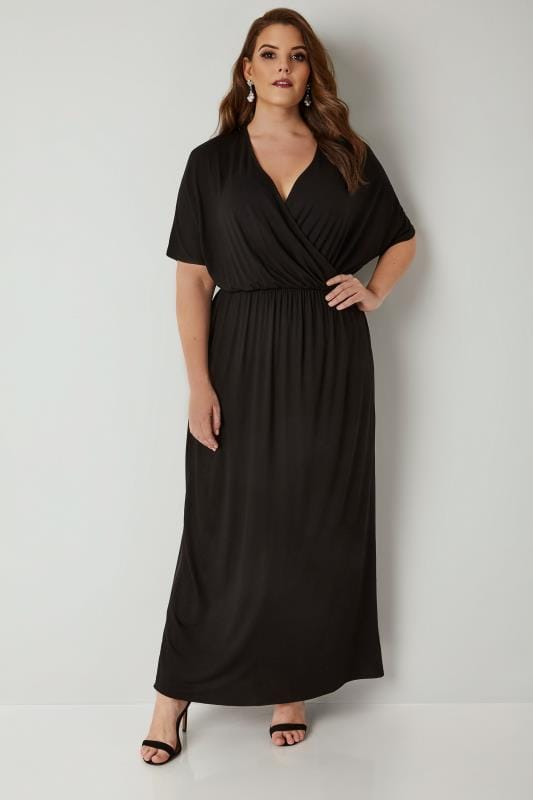 Plus Size Maxi Dresses Black Wrap Jersey Maxi Dress