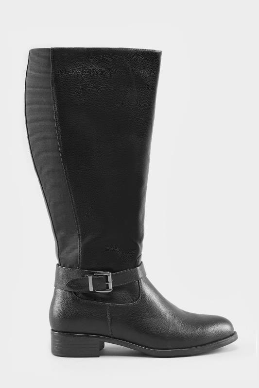 46630e99697 Wide Fit Boots Black XL Calf Buckle Rider Boot In EEE Fit