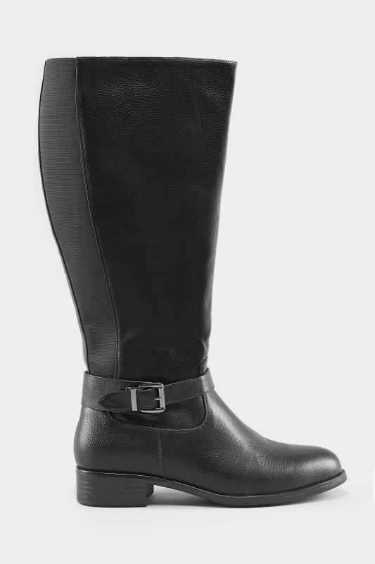 Black XL Calf Buckle Rider Boot In EEE Fit