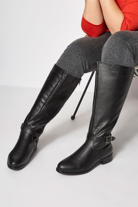 Plus Size Boots Black XL Calf Buckle Rider Boot In EEE Fit