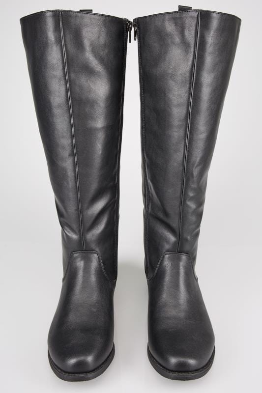 Black XL Calf High Leg Boots With Stretch Panels In TRUE EEE Fit