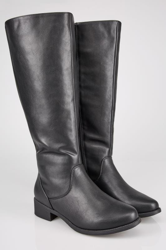 Wide Fit Boots Black XL Calf High Leg Boots With Stretch Panels In TRUE EEE Fit