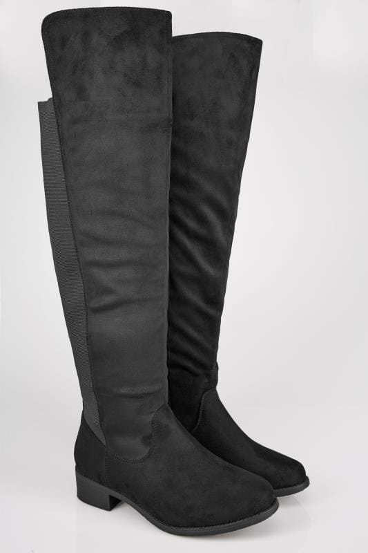 Black XL Calf Over The Knee Boots With Stretch Panel In TRUE EEE Fit