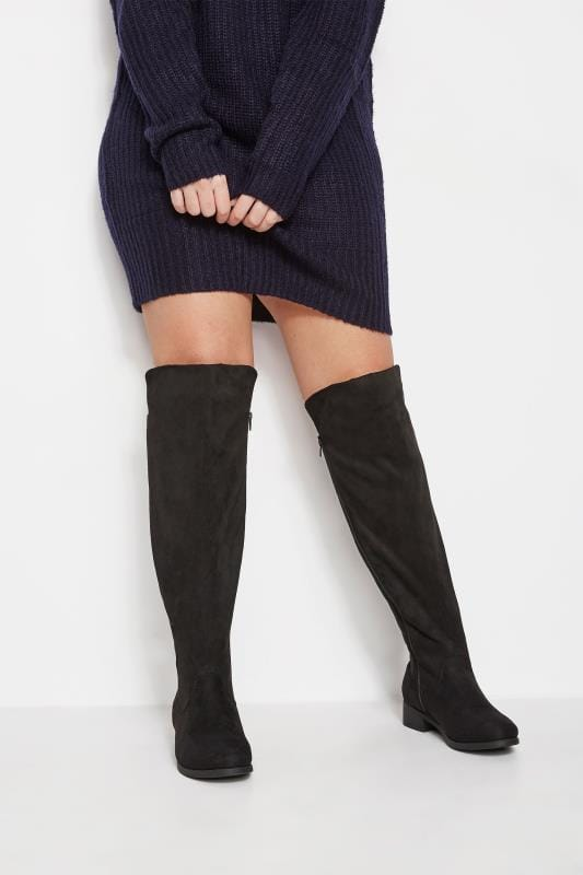 Wide Fit Boots Black XL Calf Over The Knee Boots With Stretch Panel In EEE Fit