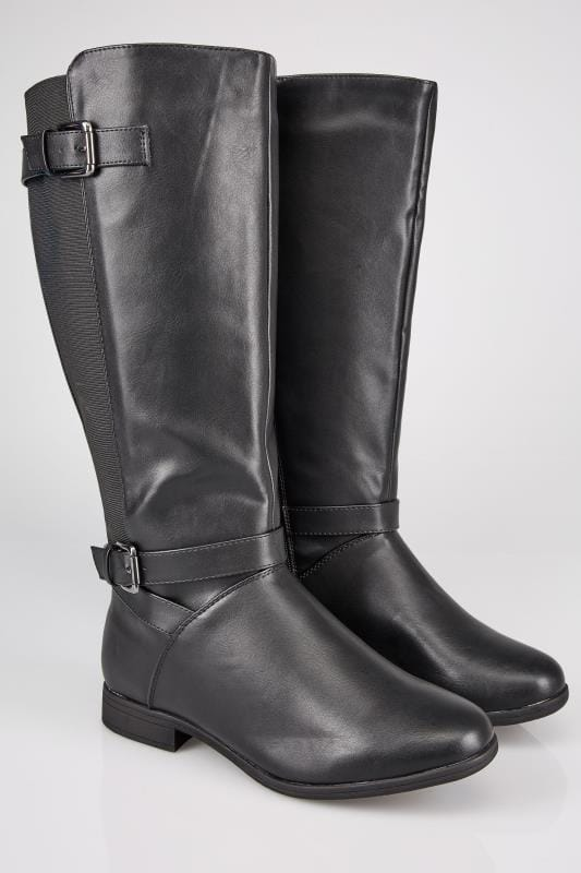 Wide Fit Boots Black XL Calf Riding Boots With Stretch Panels & Buckle Details In TRUE EEE Fit