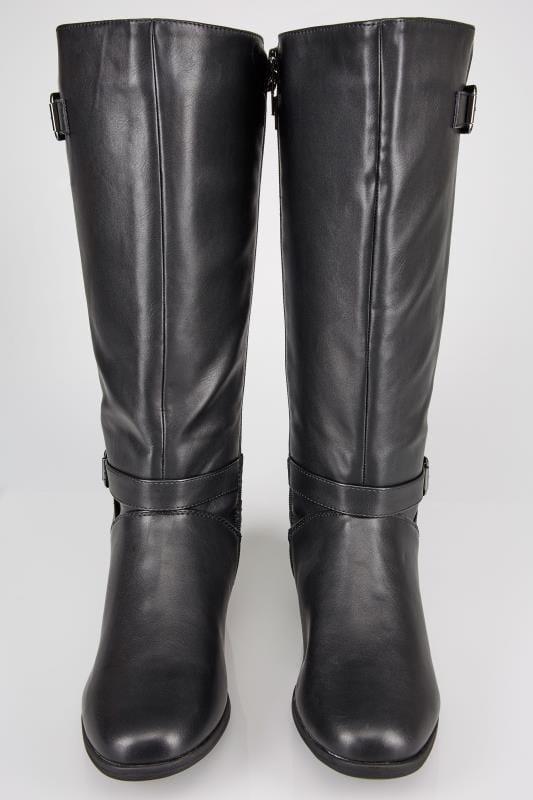 Black XL Calf Riding Boots With Stretch Panels & Buckle Details In TRUE EEE Fit