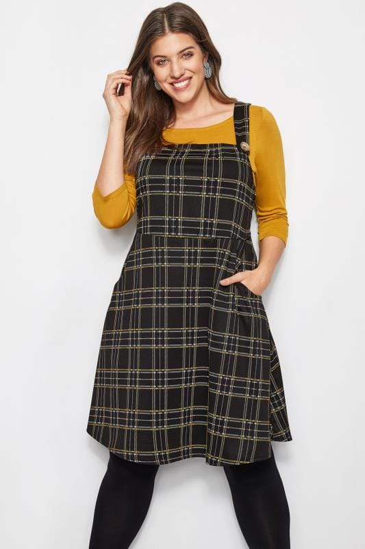 Plus Size Skater Dresses LIMITED COLLECTION Black & Yellow Check Pinafore Dress