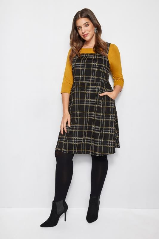 Black & Yellow Check Pinafore Dress