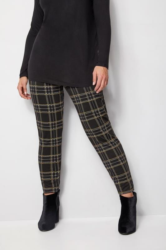 Plus Size Harem Trousers Black & Yellow Check Trousers