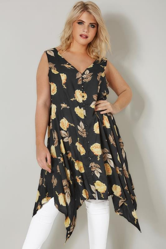 Plus Size Longline Tops Black & Yellow Floral Print Sleeveless Top With Cross Over Back & Hanky Hem