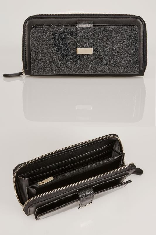 Black Zip Around Purse With Front Glitter Detail Wallet