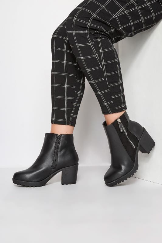 Plus Size Boots Black Zip Platform Ankle Boot In EEE Fit