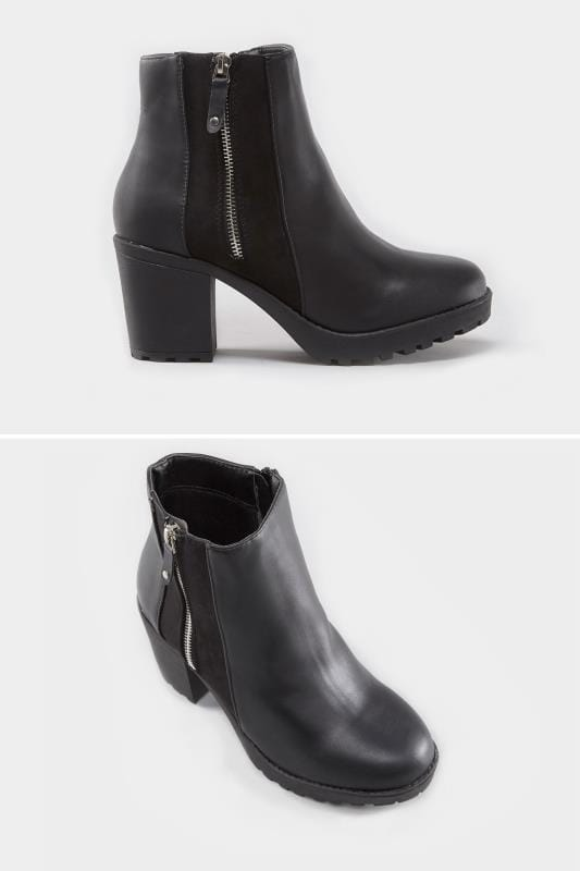 Wide Fit Boots Black Zip Platform Ankle Boot In EEE Fit