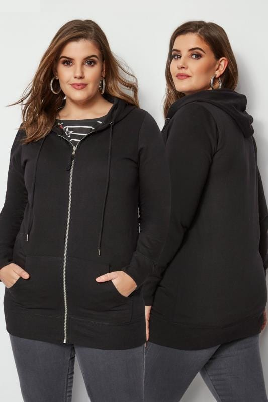 duży rozmiar Bluzy Black Zip Through Hoodie