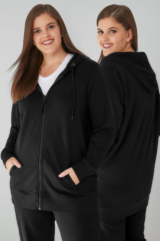 Plus Size Hoodies & Jackets Black Zip Through Hoodie With Pockets