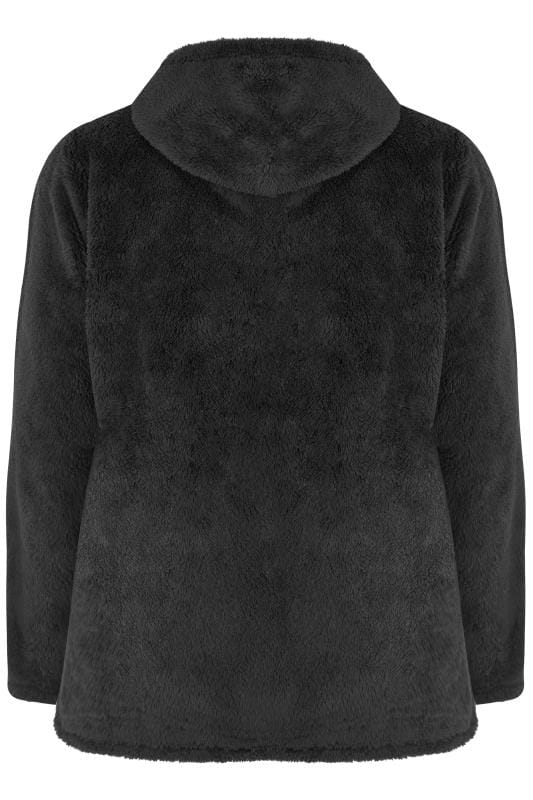 Black Zip Through Teddy Fleece