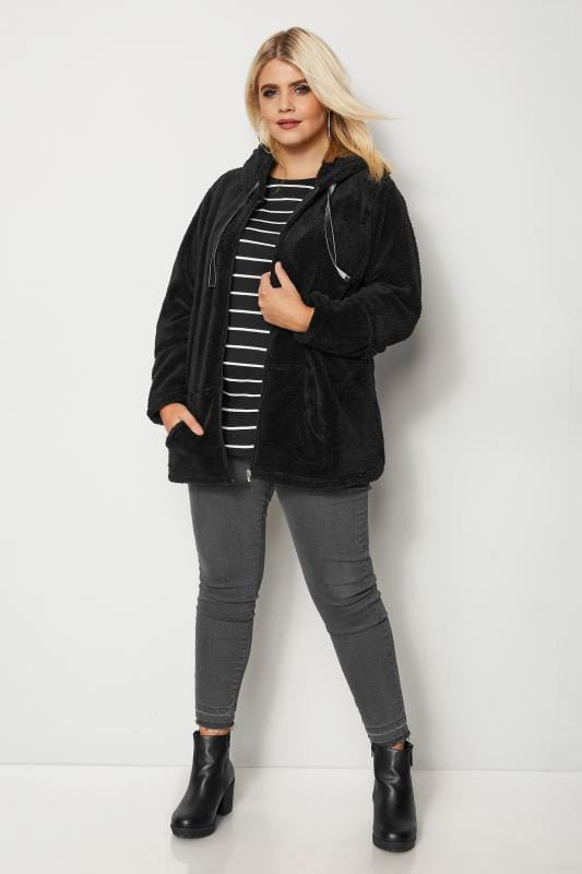 Plus Size Fleeces Black Zip Through Teddy Fleece