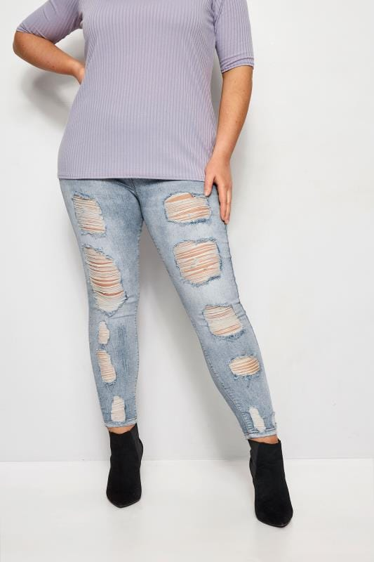 4cbf18c3752 Plus Size Jeggings Bleach Blue Extreme Distressed Bleach Jeggings · Basket  Buy