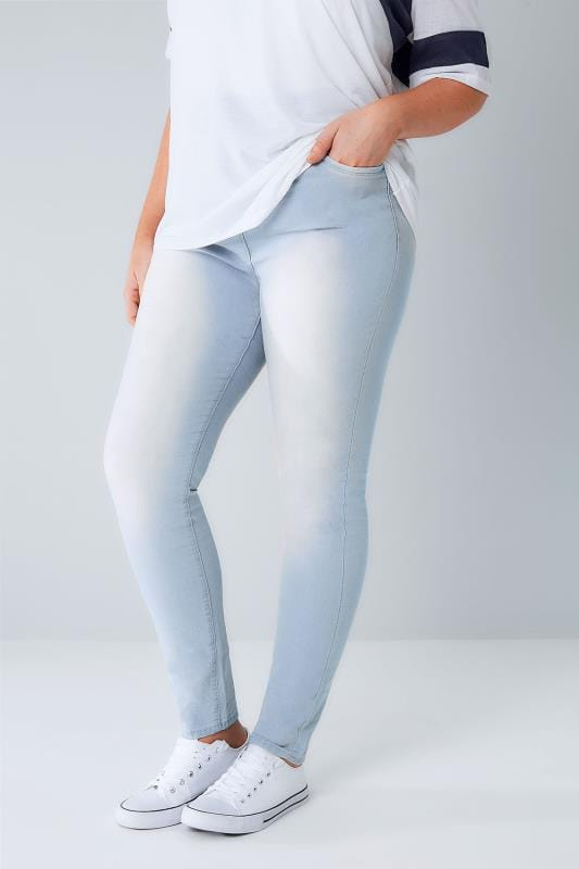 Plus Size Skinny Jeans Blue Bleach Wash Skinny AVA Jeans