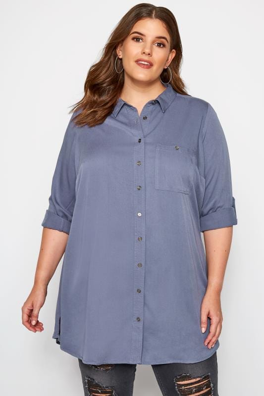 Plus Size Shirts Blue-Grey Oversized Boyfriend Shirt