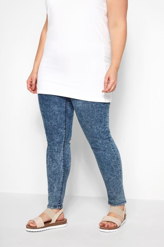 Blaue Acid Washed Skinnyjeggings JENNY