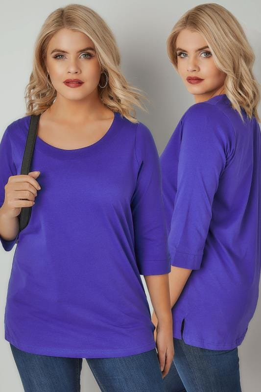 T-Shirts Blue Band Scoop Neckline T-Shirt With 3/4 Sleeves 132305