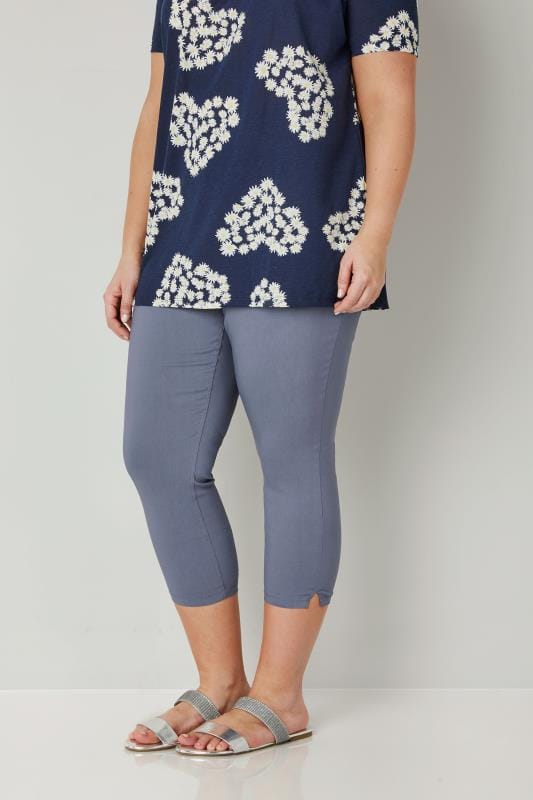 Plus Size Cropped Trousers Blue Bengaline Cropped Pull On Trousers