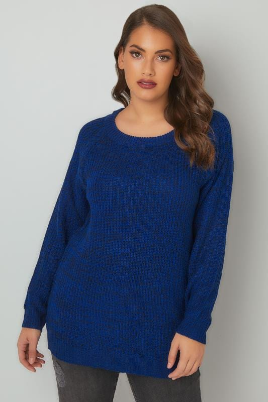 Blue & Black Chunky Knit Jumper With Laced Sleeves