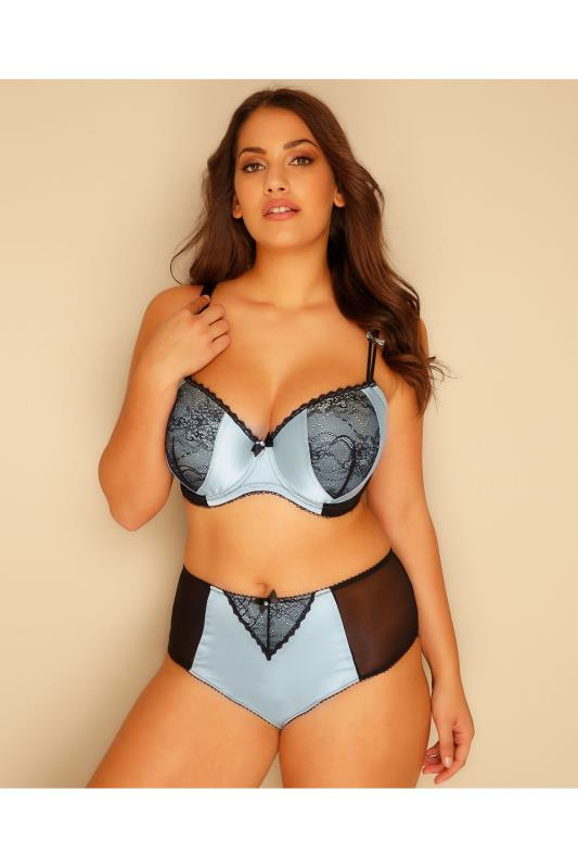 Blue & Black Lace Satin Briefs