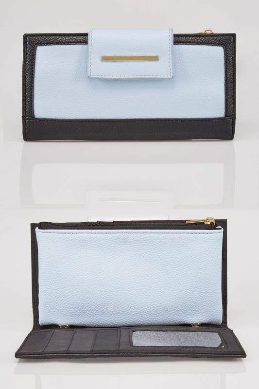 Bags & Purses Blue & Black Large Colour Block Purse 101220