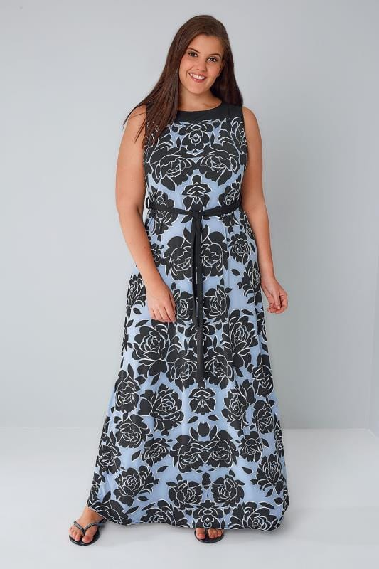 Blue & Black Sleeveless Floral Maxi Dress