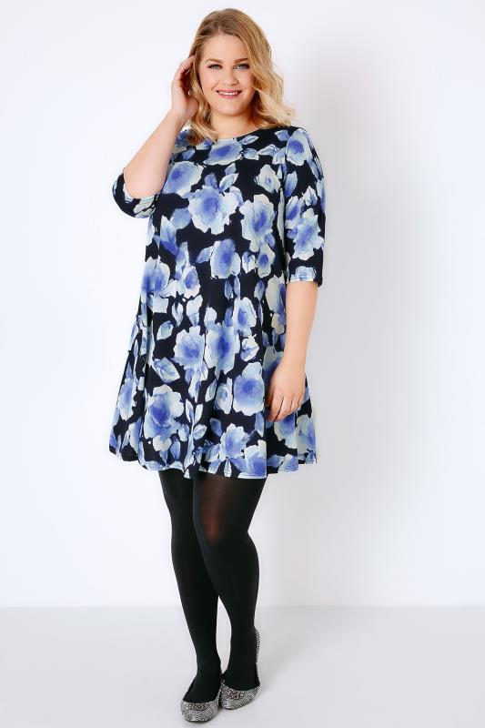 Blue Blurred Rose Textured Swing Dress With Half Sleeves