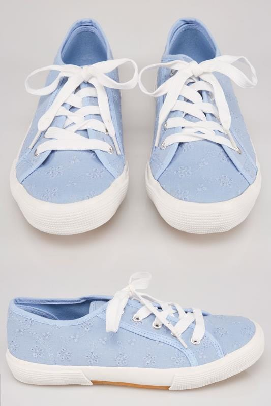 Wide Fit Trainers Blue Broderie Anglais Lace Up Plimsoll In TRUE EEE Fit