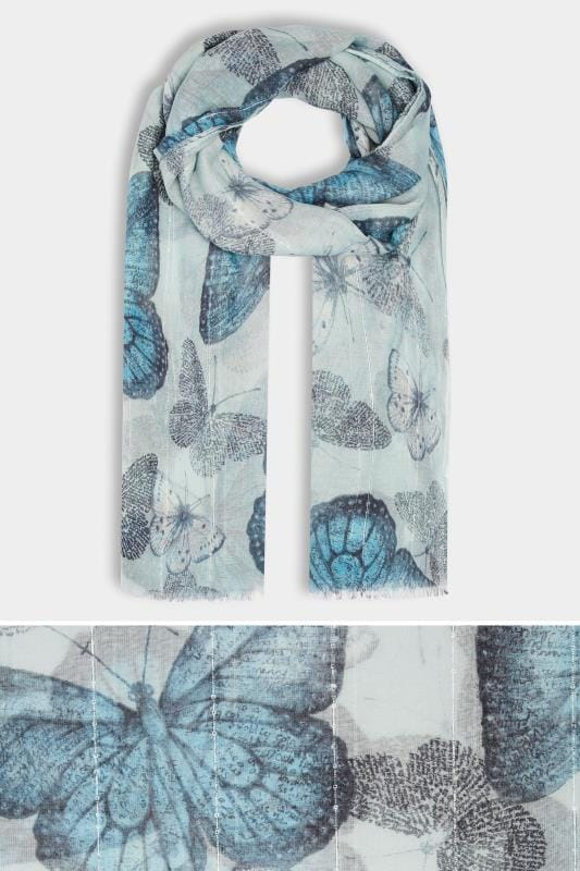 Blue Butterfly Print Scarf With Sequin Stripes
