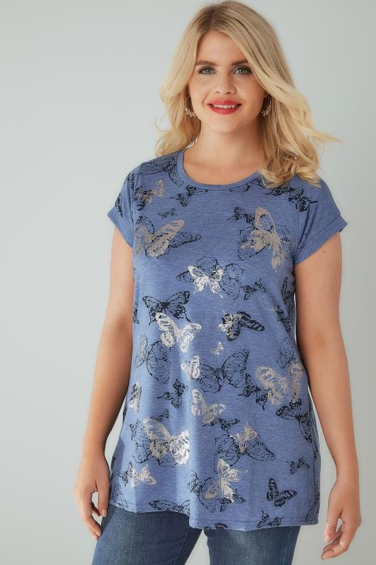 Blue Marl Butterfly Print T-Shirt With Foil Detail