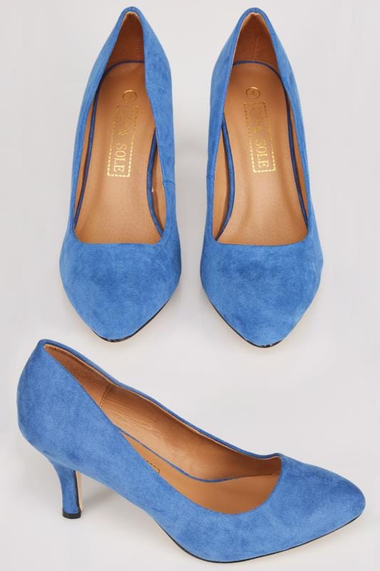 Wide Fit Heels Blue COMFORT INSOLE Suedette Court Shoe In E Fit 101706