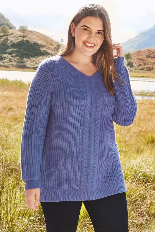 Plus Size Sweaters Blue Cable Knit Jumper