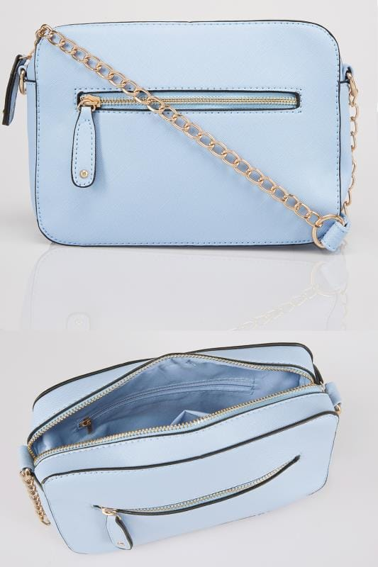 Blue Camera Bag With Cross Body Chain