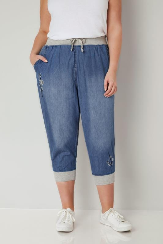 Blue Chambray Cropped Jogger Trousers With Floral Embroidery