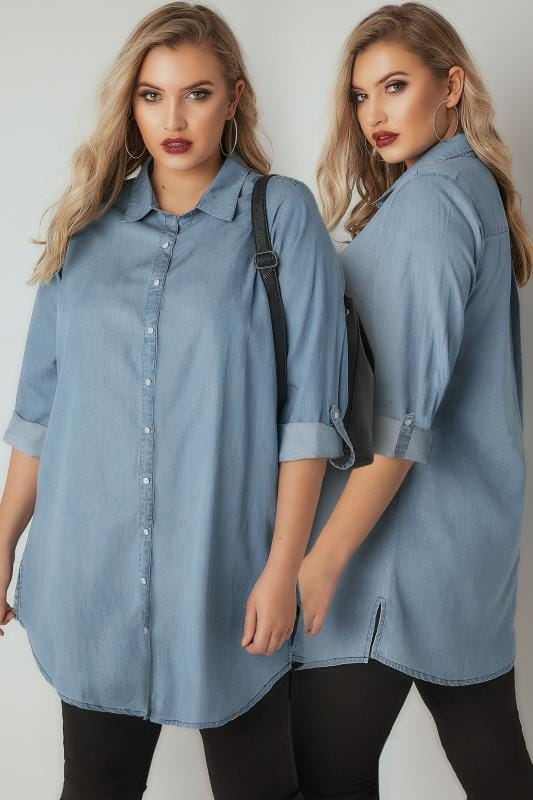 Plus Size Shirts Blue Chambray Denim Shirt