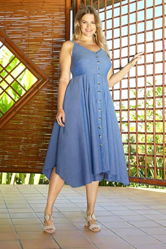 Plus Size Midi Dresses Blue Chambray Hanky Hem Dress