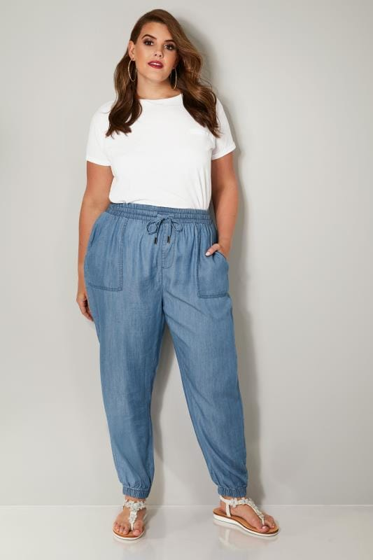 Blue Chambray Harem Trousers