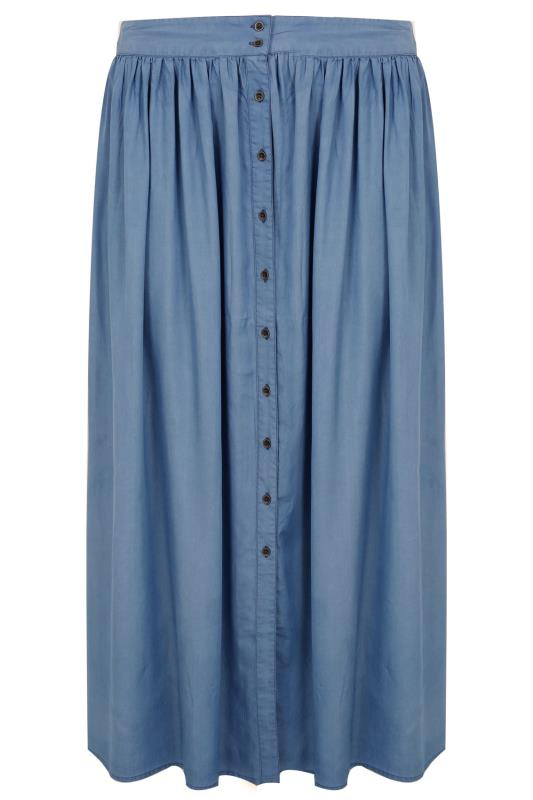 Plus Size Maxi Skirts Denim Blue Tencel Maxi Skirt
