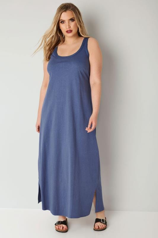 Plus Size Maxi Dresses Blue Chambray Sleeveless Maxi Dress With Plait Trim
