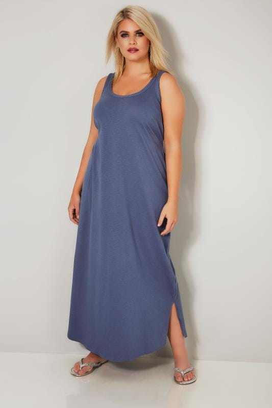 Blue Chambray Sleeveless Maxi Dress With Plait Trim