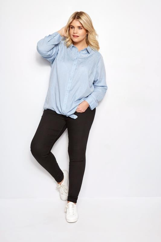 Plus Size Shirts Blue Chambray Stud Tie Front Shirt