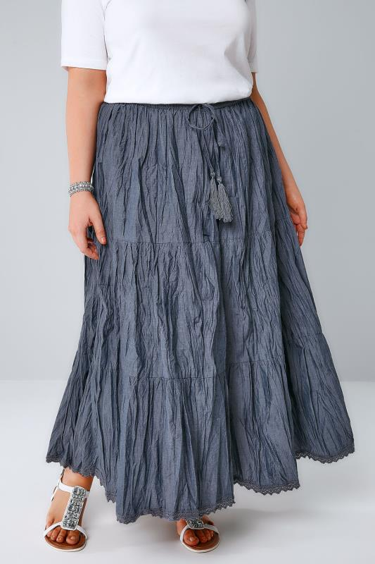 Maxi Skirts Blue Chambray Tiered Crinkle Maxi Skirt 160008