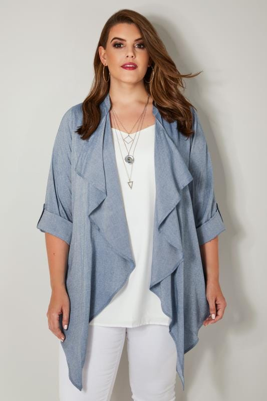 Plus Size Cardigans Blue Chambray Waterfall Cardigan