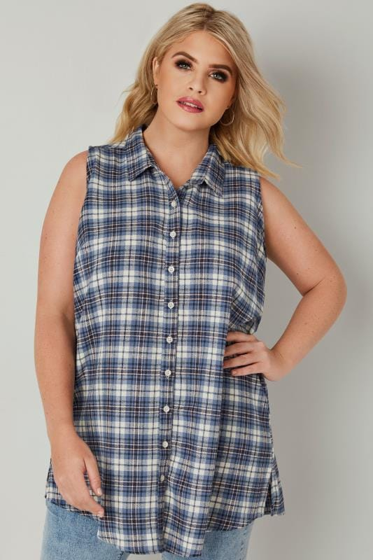 Blue Check Longline Sleeveless Shirt